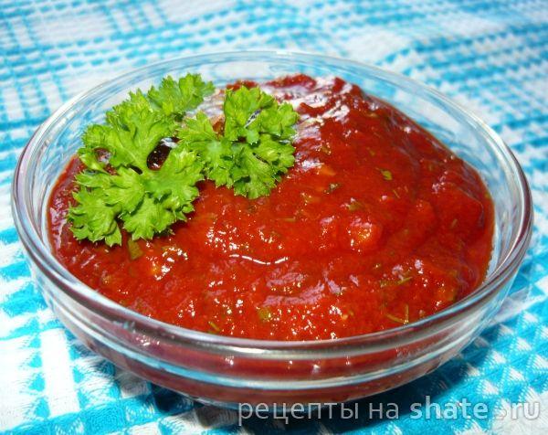 соус шашлычный----------------------------------- томатня паста — 300 г пучок свежей зелени (кинза, петрушка, укроп) чеснок — 4-5 зубчиков соль — 1 ч.л. без горки сахар — пол чайной ложки лимонная кислота — щепотка перец черный, перец красный кориандр молотый