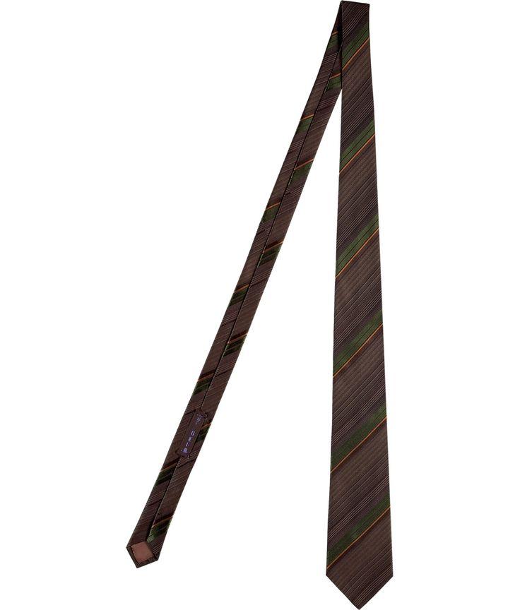 Brown/Olive Fine Striped Silk Tie