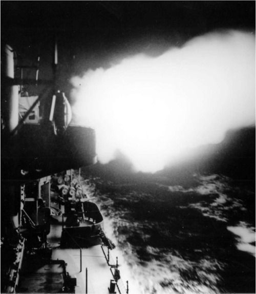A US Navy Destroyer in action against a Japanese destroyer force of Vella Lavella, Solomon Islands.