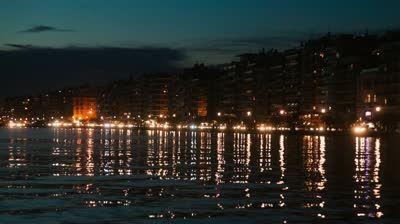 Thessaloniki port by night