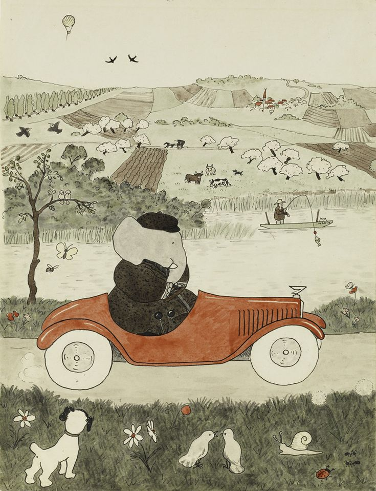 Histoire de Babar, Jean de Brunhoff, aquarelle originale pour , 1931