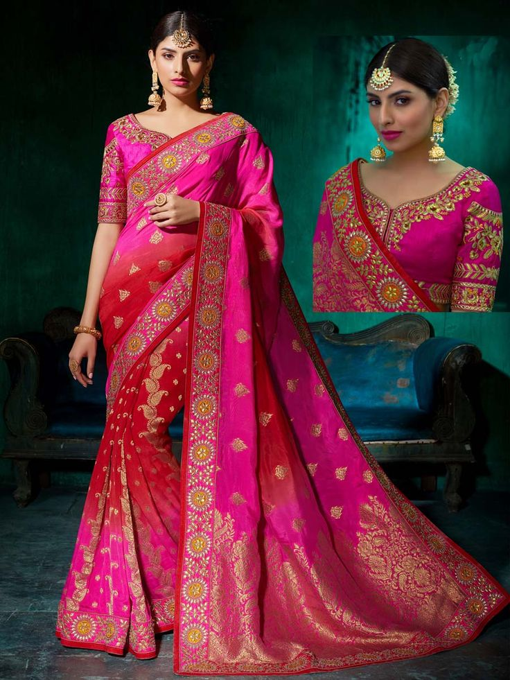 Enchanting red and rani pink color pure viscose saree with worked patch border is adorning its beauty with grace. Be in fashion anywhere by wearing this beautiful outfit.