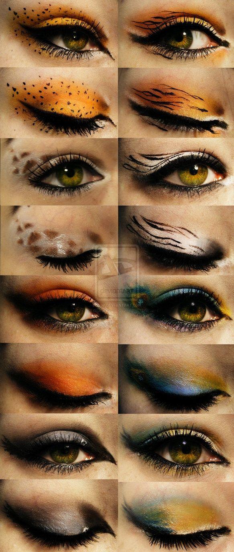 En este caso se trata de maquillajes salvajes. Por eso, si tienes en vista una fiesta o algún evento temático que sea acorde a este estilo animal print, Lávalo e hidrátalo, y cuando esté listo, puedes empezar.modelo de tigre. La sombra naranja y la marrón, se aplicarán del mismo modo que se aplicó en el diseño anterior. Luego, deberán delinear los extremos del ojos con un lápiz de color blanco. Por último tienes que delinear todo el contorno del ojo en negro, y dibujar las rayas del tigre .