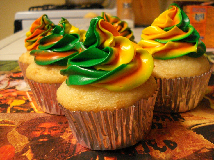 "Reggae Cupcakes...now that's what I'm talking about...but I'd probably make chocolate cupcakes to be the ""black"" in the colors... :)"