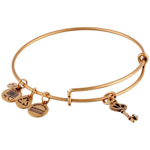 Alex and Ani Skeleton Key Charm Bangle Bracelet ($28) ❤ liked on Polyvore featuring jewelry, bracelets, rafaelian gold finish, gold tone bracelet, alex and ani bracelet, charm bracelet bangle, adjustable bracelet and hinged bangle bracelet