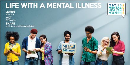 """May is Mental Health Month. What does this mean? It is a month dedicated to raising awareness on mental health issues. Mental Health America states how """"Sharing is the key to breaking down negative attitudes and misperceptions surrounding mental illnesses, and to show others that they are not alone in their feelings and their symptoms."""" Break the stigma and show your support! http://www.mentalhealthamerica.net/may"""