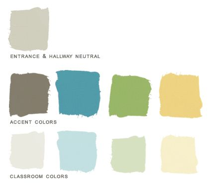 Preschool paint color palette created for a client who Zen room colors