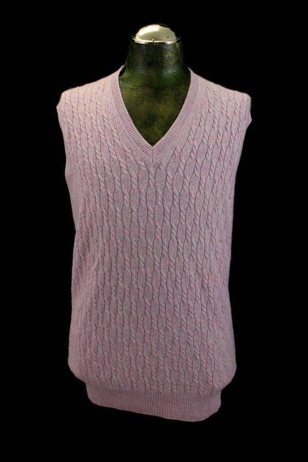 mens mauve pink CABLE KNIT v-neck sweater vest 100% PURE CASHMERE ...