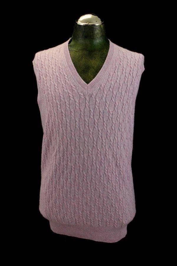 mens mauve pink CABLE KNIT v-neck sweater vest 100% PURE CASHMERE ...