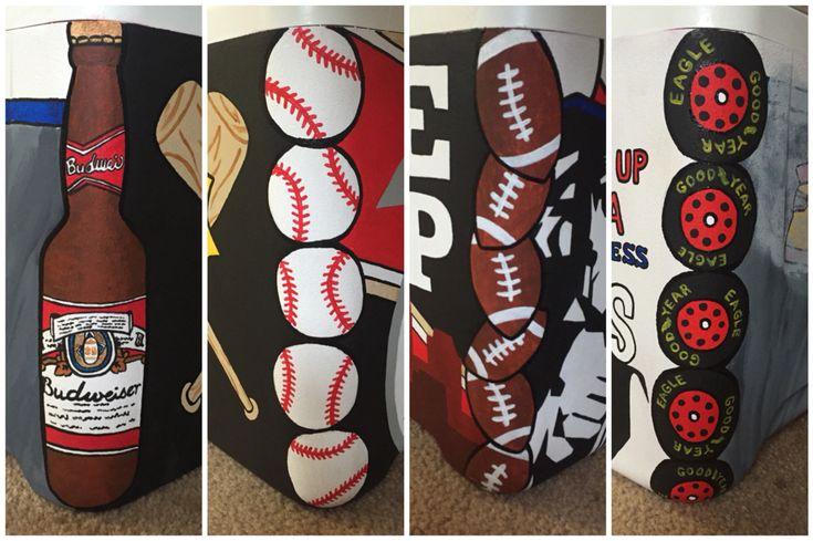 Budweiser, baseball, football, tires painted corners on cooler