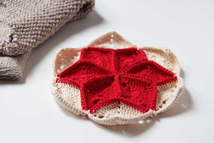 Návod na háčkovanou vánoční dekoraci - hvězda, granny diamond