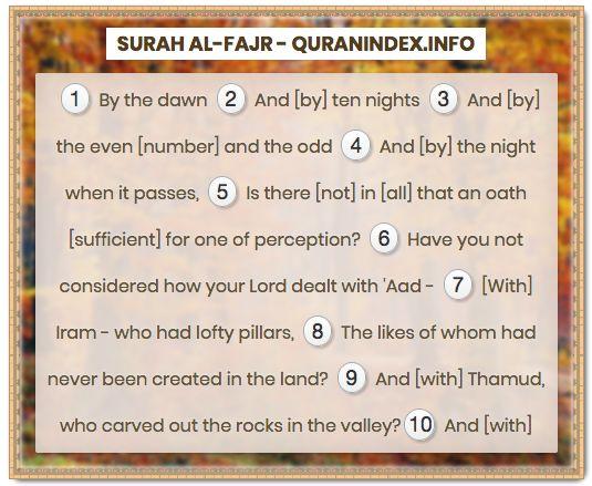 Browse, Read, Listen, Download and Share Surah Al-Fajr [89] @ https://quranindex.info/surah/al-fajr #Quran #Islam