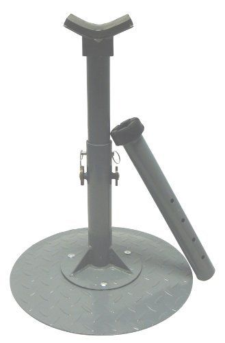 """Farrier Hoof Maintenance Stand by High Country Plastics. $70.95. The Farrier Hoof Maintenance Stand supports the hoof for daily maintenance. Ideal for hoof treatment, rasping, bandaging, clipping and polishing. Hoof stand height adjusts from 17"""" to 25-1/2"""". Includes diamond-plate adjustable base with two magnets, rubber cradle and rubber straight post. Heavy duty construction. Manufacturer Part Numbers: MFS"""