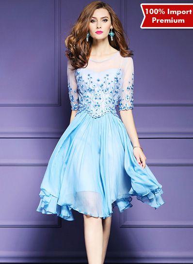 Dress Import Premium Embriodery Lace 605PR  | shopasista.com | Distributor baju import | distributor baju korea | grosir baju korea | grosir baju import | supplier baju korea tangan pertama | importir baju korea