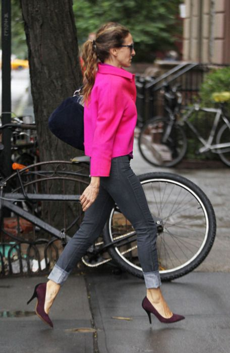 pink jacket - jeans --- Sarah Jessica Parker - SATC - Carrie Bradshaw - set - sex and the city