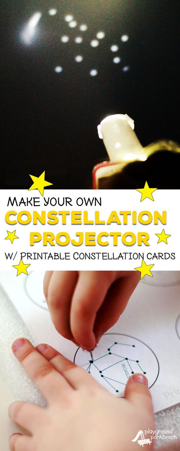 Study the stars with your preschooler! Learn how to turn your phone into a simple DIY constellation projector with our FREE printable constellation cards. Part of our Studying Stars series for Preschoolers. | Preschool | STEAM | STEM | Kids Activities | S