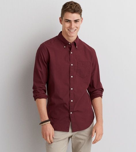 AEO Short Sleeve Print Poplin Shirt | Burgundy, Button down shirts ...