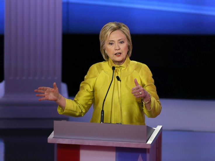 PHOTO: Democratic presidential candidate Hillary Clinton participates in the PBS NewsHour Presidential Primary Debate in Milwaukee, on Feb. 11, 2016.