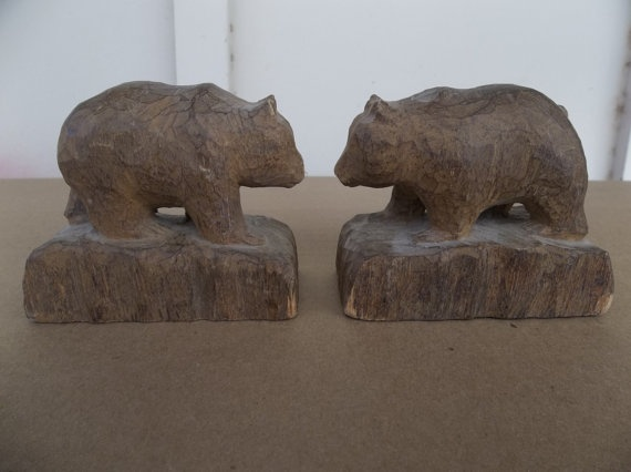 Vintage hand carved wooden bears primitive wood by
