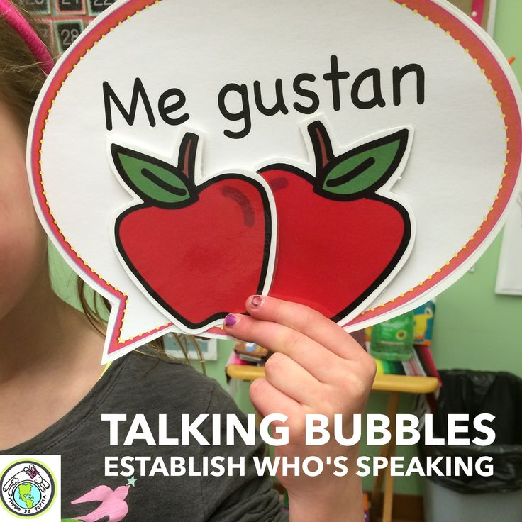 In a 90% in the Target Language Classroom, using talking bubbles to help students understand you are using the 'yo' form is a great way to keep from having to translate into English. For more tips, see our blog post! Mundo de Pepita, Resources for Teaching Spanish to Children #go90inTL