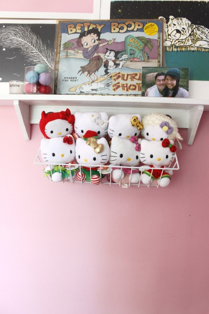 Metal Baskets are perfect for storing stuffed animals! ($2.99 from Value Village)