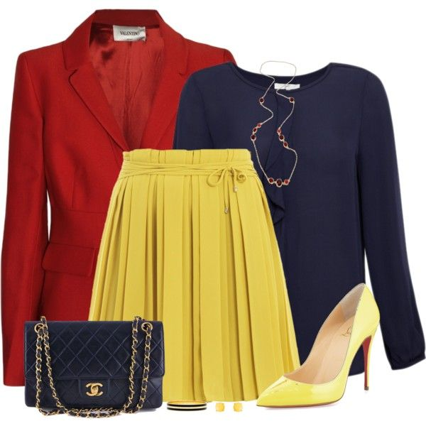 Red, Blue and Yellow by daiscat on Polyvore featuring Joie, Diane Von Furstenberg, Christian Louboutin, Chanel, Fornash, MARC BY MARC JACOBS and Humble Chic