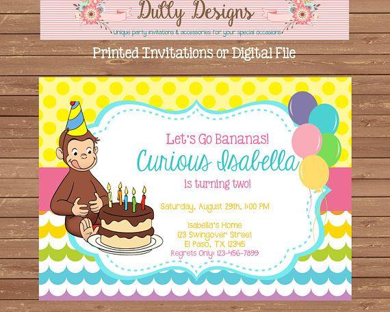 Curious George Birthday Invitation Curious George Birthday