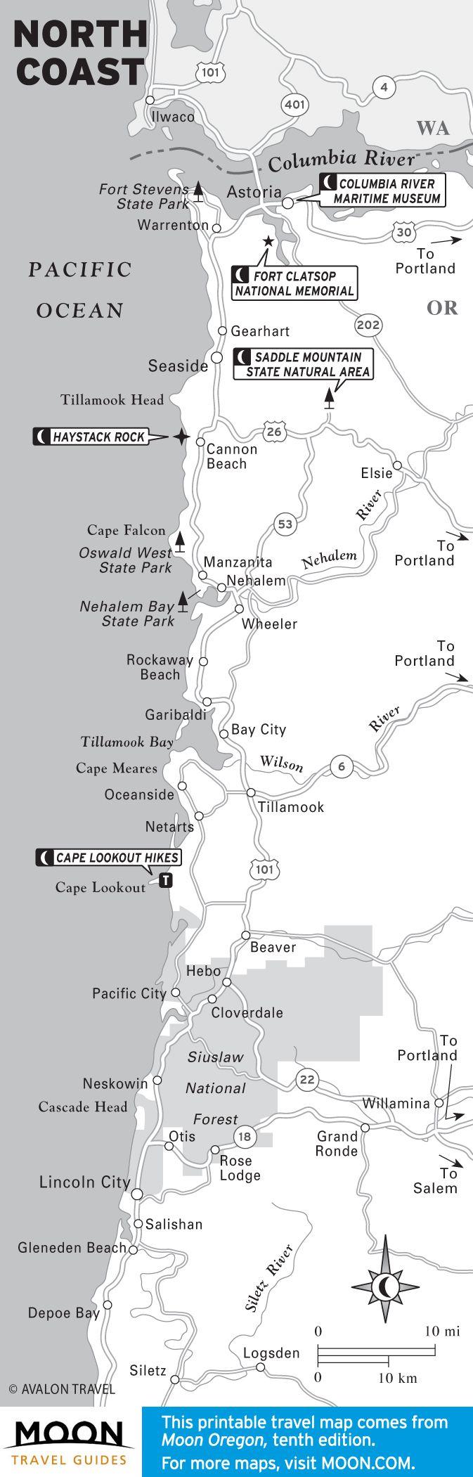 Map of the North Coast of Oregon