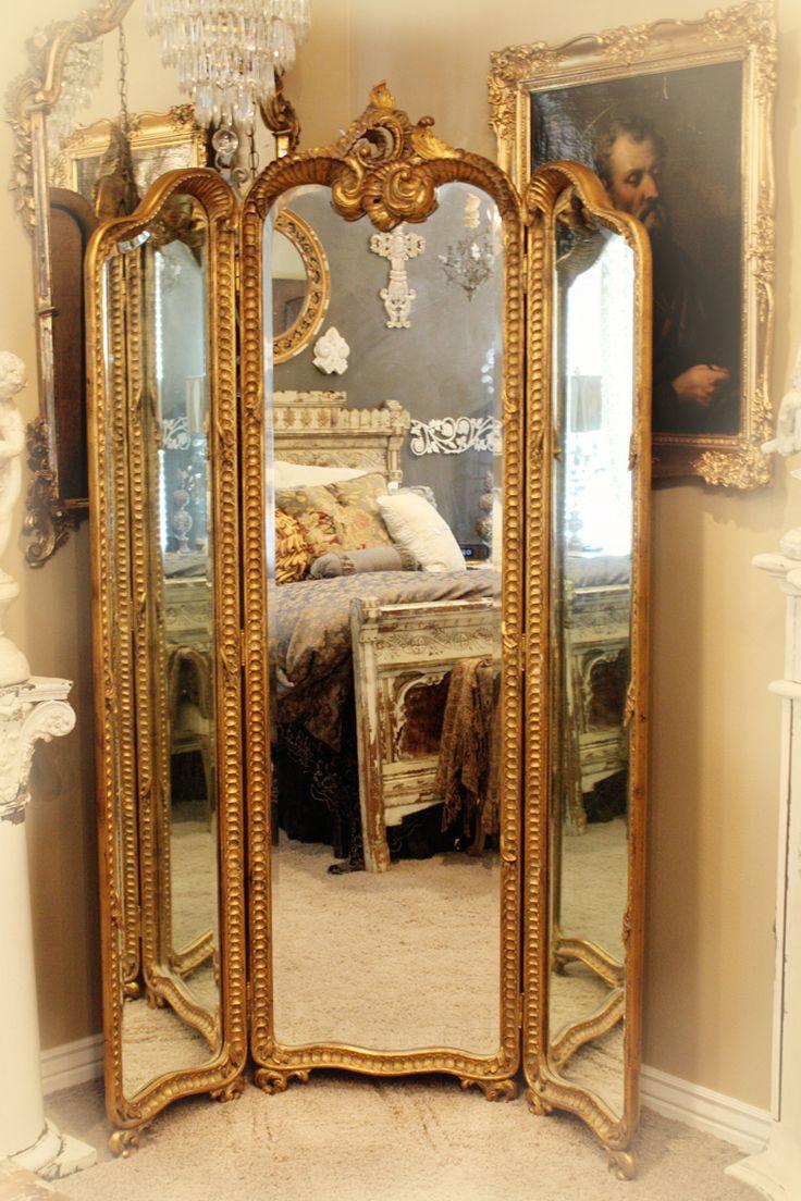 Antique Hand Carved Gilt Three Panel Mirror