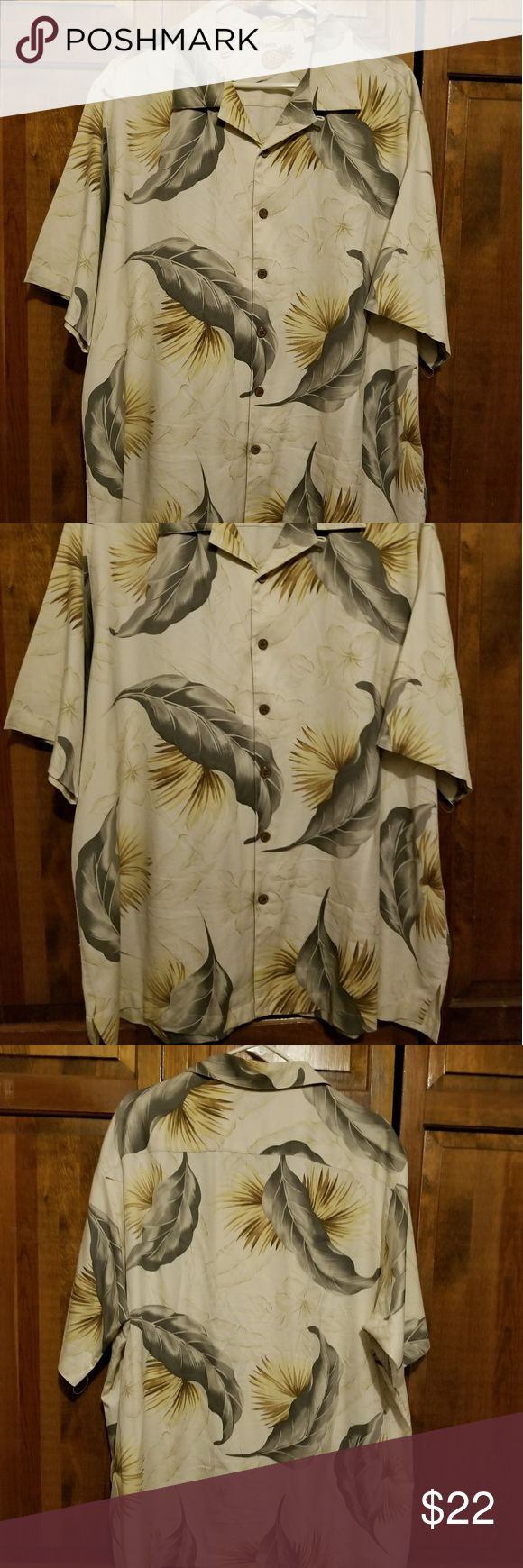 Men's Caribbean Silk Blend Shirt XL Caribbean shirt 70% silk, 30% cotton, size XL, excellent condition.  Cream color with light green and pale yellow foliage. Caribbean Shirts Casual Button Down Shirts