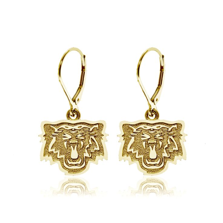 10kt yellow gold drop hoop Hamilton Tiger-Cats earrings.