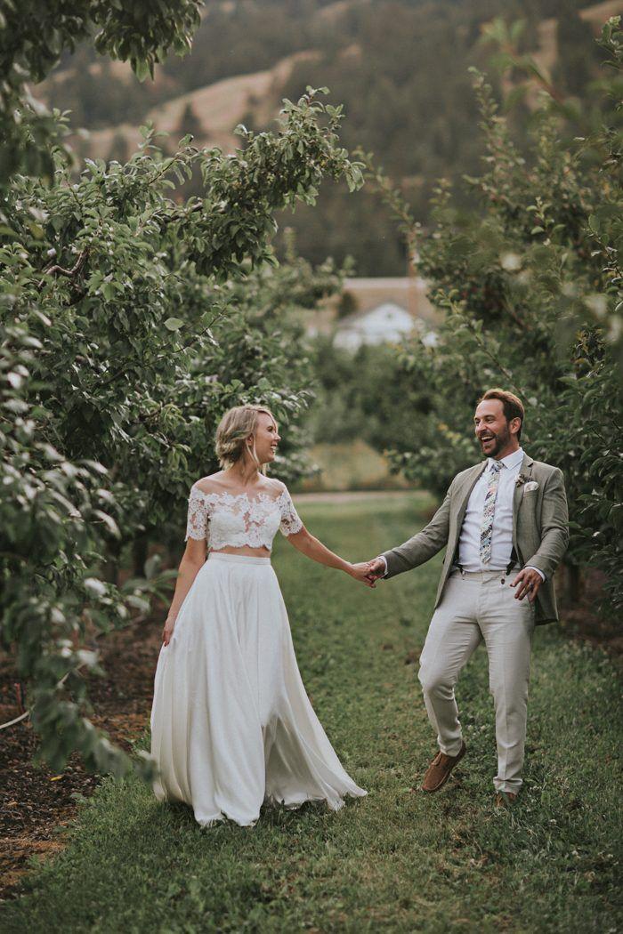 Dreamy Casual Kelowna Wedding At Gatzke Orchard Two Piece Wedding Dress Wedding Dresses Boho Wedding Dress