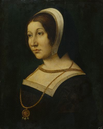 Margaret Tudor, Queen of Scotland, daughter of Henry VII and sister to King Henry VIII. Her husband was James IV, King of Scotland. Grandmother to Mary, Queen of Scots. 1st Cousin