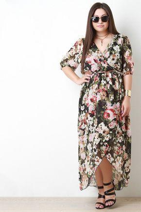 Semi Sheer Floral Print Maxi Dress