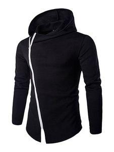 Con capucha negro/azul marino con capucha chaqueta hombres con cremallera asimétrica y el dobladillo