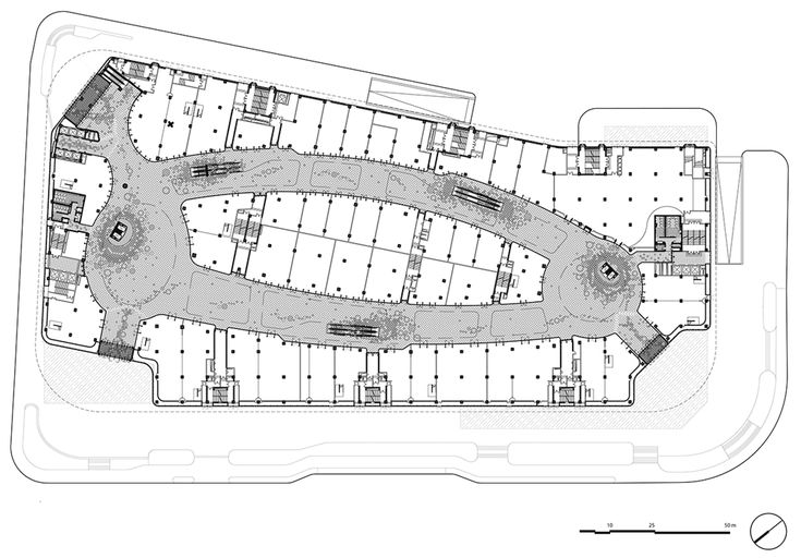 Floor plan of Shopping centre covered in silver balls by UNStudio