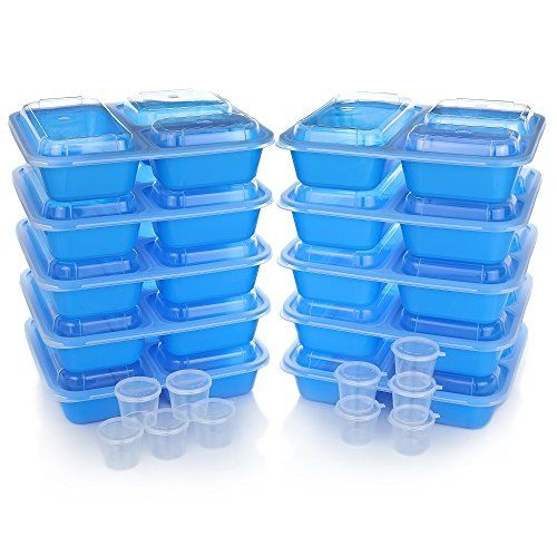 Meal Prep Containers w/ Lids. 10-Pack Reusable 3 Compartment (36 oz) Microwave/Dishwasher Safe. BPA Free Plastic Bento Box Best for Food Storage, Portion Control & Weight Loss. BONUS 10 Sauce Cups #Meal #Prep #Containers #Lids. #Pack #Reusable #Compartment #Microwave/Dishwasher #Safe. #Free #Plastic #Bento #Best #Food #Storage, #Portion #Control #Weight #Loss. #BONUS #Sauce #Cups