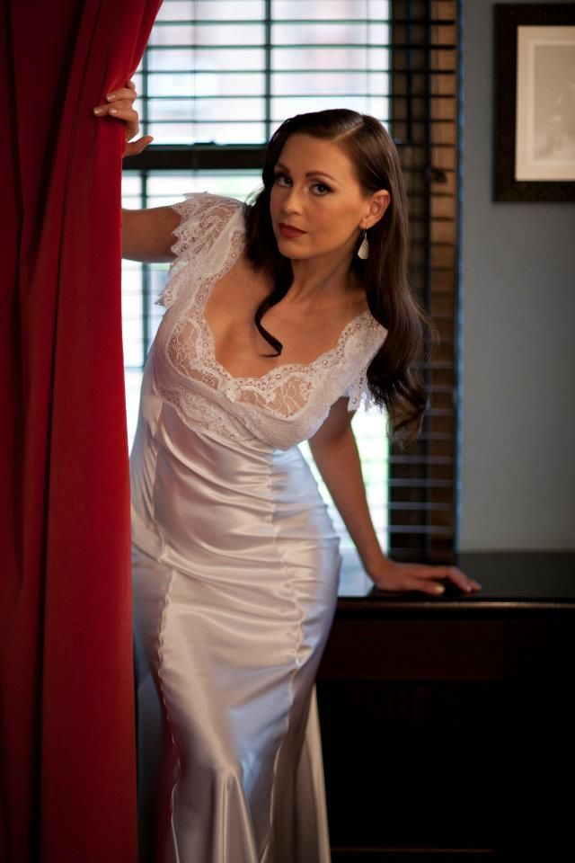 Off-white silk georgette and Leavers lace nightgown with soutache.