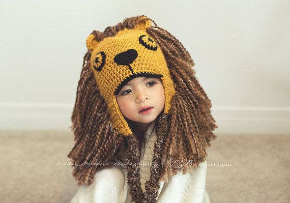 HARRY POTTER inspired Luna Lovegood crochet lion hat with earflaps on Etsy, $32.00