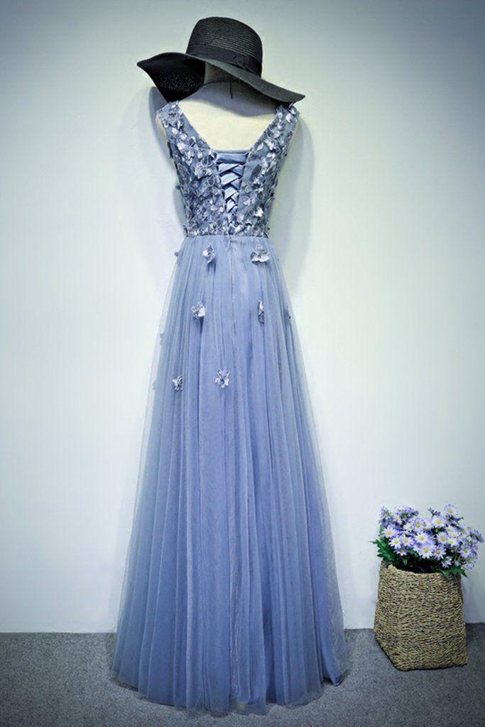 2018 evening gowns - Elegant blue tulle long A-line lace appliqués senior prom dress, evening dress