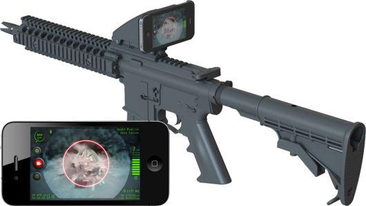 The Inteliscope Tactical Rifle Adapter and app allows gun owners to mount their iPhone or iPod Touch to a firearm and use it as a sight with a heads-up display.
