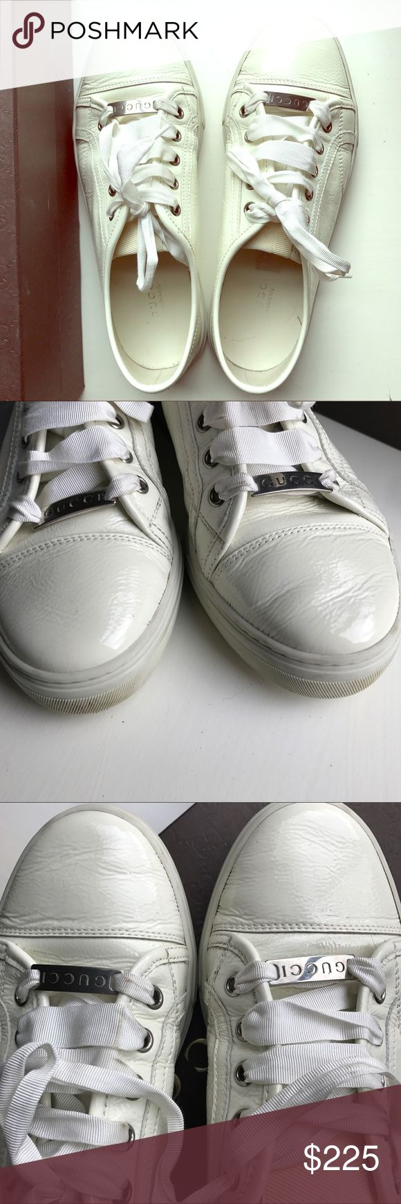 Gucci Sneakers Gucci White Sneaker, Excellent Condition. Size 38. Leather is in great condition. Silky, unique shoe strings are what caught my eye at store. Signs of wear mostly on rubber soles- which can be further cleaned! Comes with Original Box & Dust Bag. Purchased at Gucci Outlet In San Marcos, TX for $395. Only worn a handful of times. Just a tad too big for me. Please No Holds or Trades. Only selling on Posh. Price is Firm. Gucci Shoes Flats & Loafers