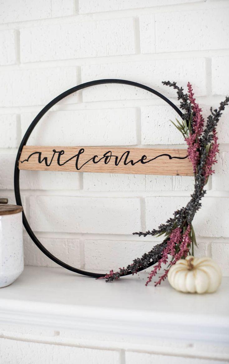 DIY modern autumn hoop wreath