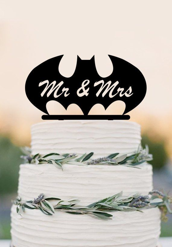 Mr Mrs wedding cake topper,batman custom cake topper,funny wedding dec – DokkiDesign