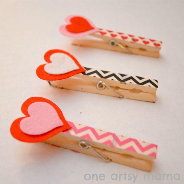 Clothespin Heart Clips | One Artsy Mama