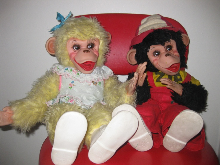 1950's Vintage Pair Zip Zippy & Tippy Monkey Chimpanzee by 'Rushton' from Howdy Doody All Original. $280.00, via Etsy.