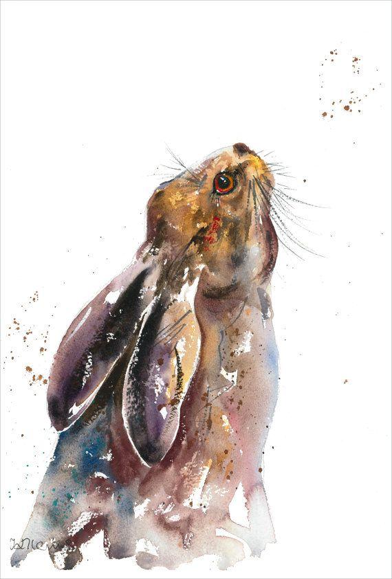 Le beau lièvre, un magnifique animal longtemps associé avec le mysticisme et les traditions anciennes. Il sagit dune impression dans les encres darchives sur papier aquarelle épais de mon aquarelle originale & peinture à lencre de qualité 10,5 « x 14.5 » (taille avant montage)