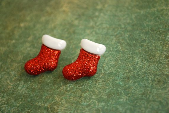 Christmas Stocking Earrings  Christmas Stocking Studs by Ear2There