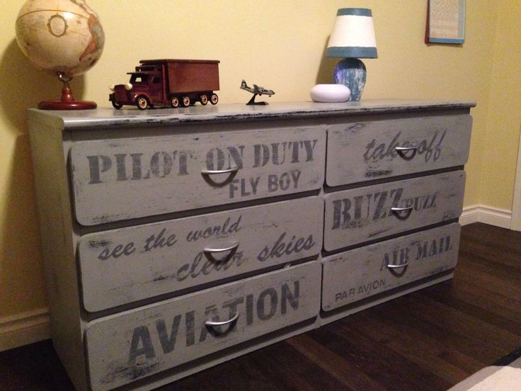 Aviation themed painted grey dresser boys rustic for Aviation decoration ideas