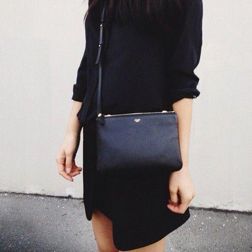 Black Celine Zip Bag